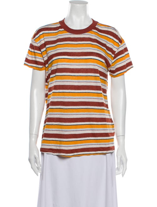 Frame Linen Striped T-Shirt Orange