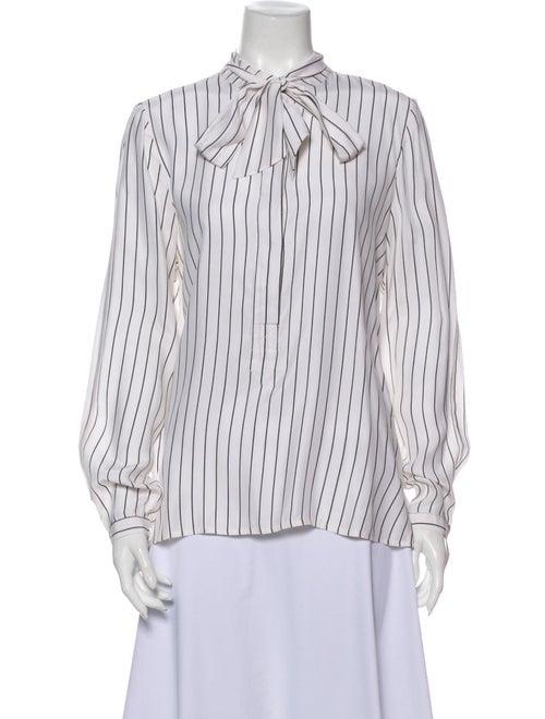 Frame Silk Striped Blouse White