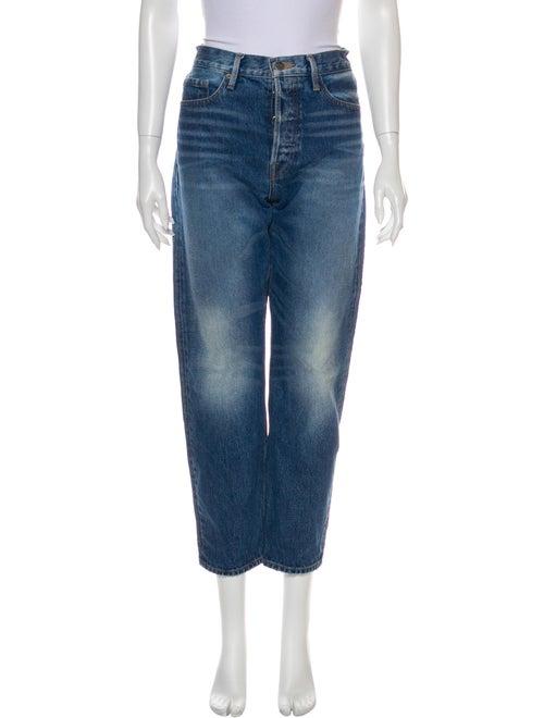 Frame High-Rise Straight Leg Jeans Blue