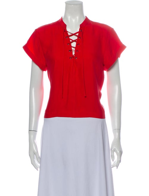 Frame Silk Tie Neck Blouse Red