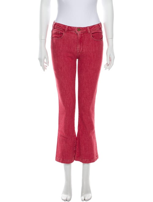 Frame Mid-Rise Flared Jeans Pink