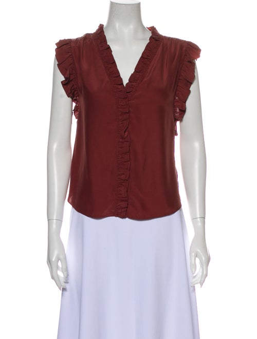 Frame Silk V-Neck Blouse w/ Tags Red
