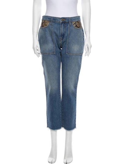 Frame Mid-Rise Straight Leg Jeans Blue - image 1