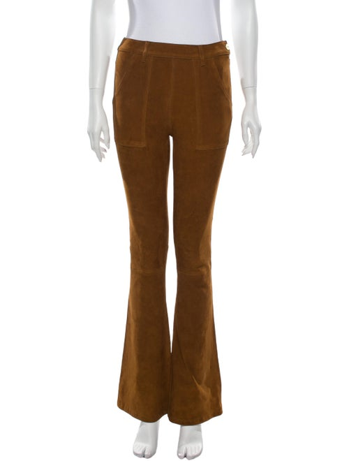 Frame Lamb Leather Flared Pants Brown