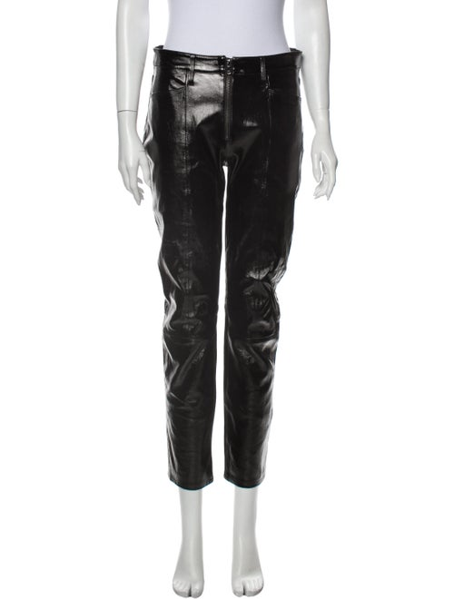 Frame Lamb Leather Straight Leg Pants Black