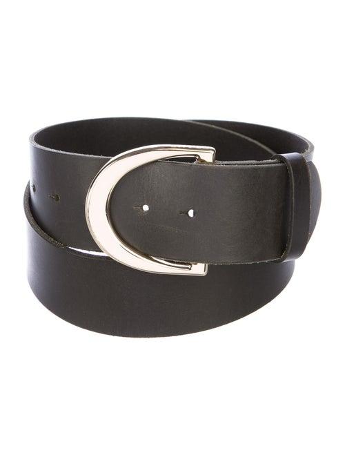 Frame Leather Buckle Belt gold