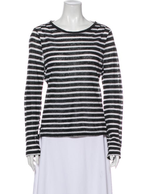Frame Linen Striped T-Shirt Black