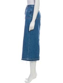 FRAME Raw-Edge Trim Midi Length Skirt