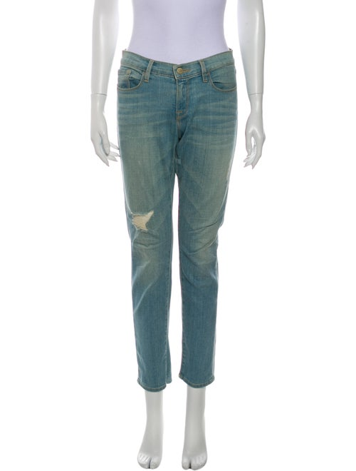 Frame Low-Rise Straight Leg Jeans Blue