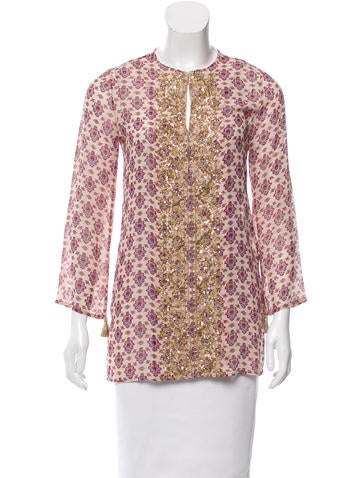 Figue Embellished Silk Top w/ Tags None