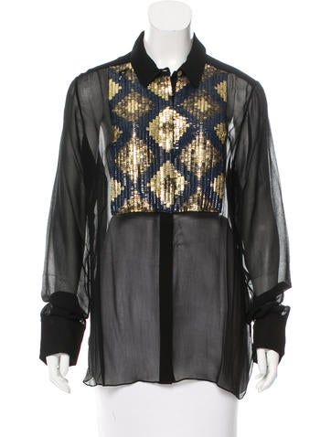 Figue Embellished Button-Up Top w/ Tags None