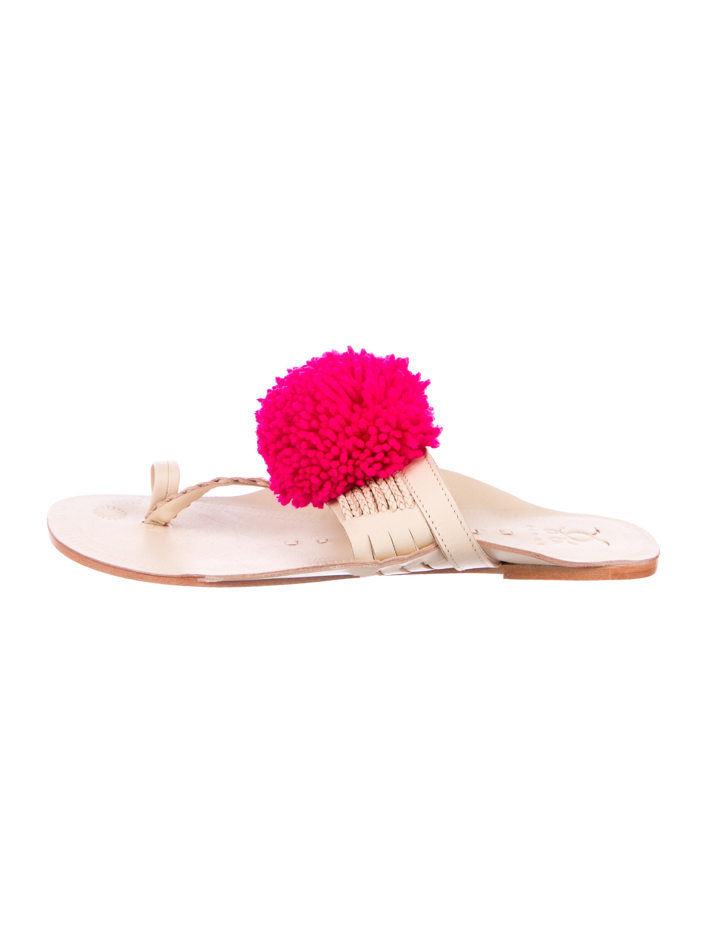 Figue Pom-Pom Leather Sandals w/ Tags deals cheap online under $60 for sale xaM8dWiTaj