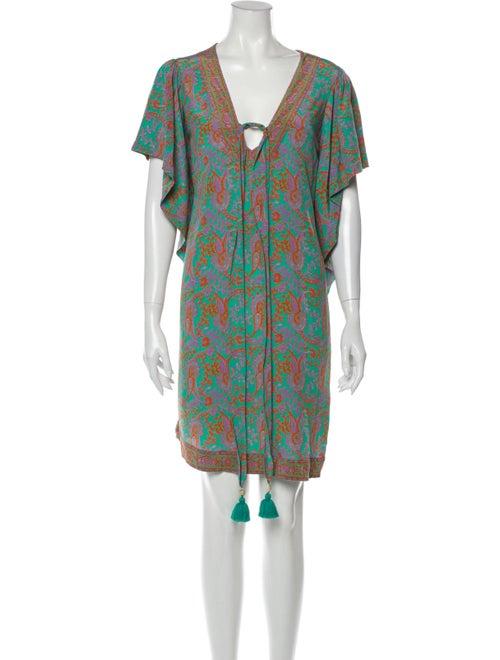 Figue Silk Mini Dress Green