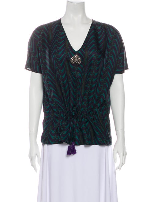 Figue Silk Printed Blouse Green