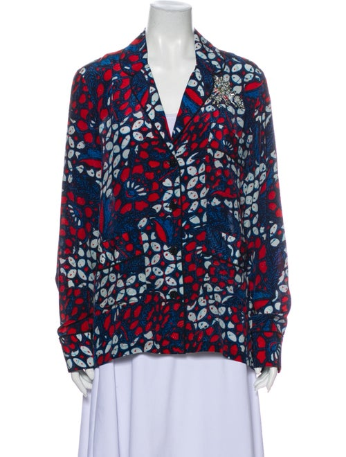 Figue Silk Printed Blouse Blue