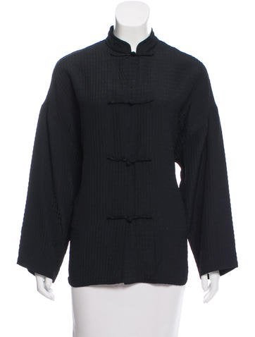 Wool-Blend Mandarin Collar Jacket