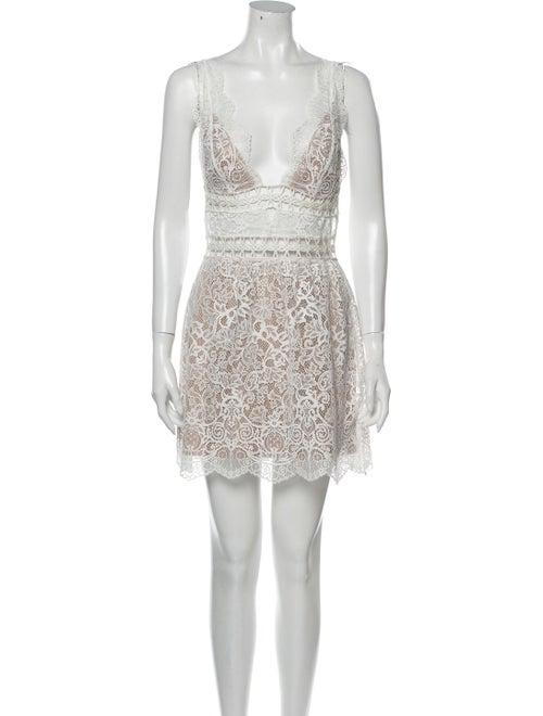 For Love & Lemons Lace Pattern Mini Dress White