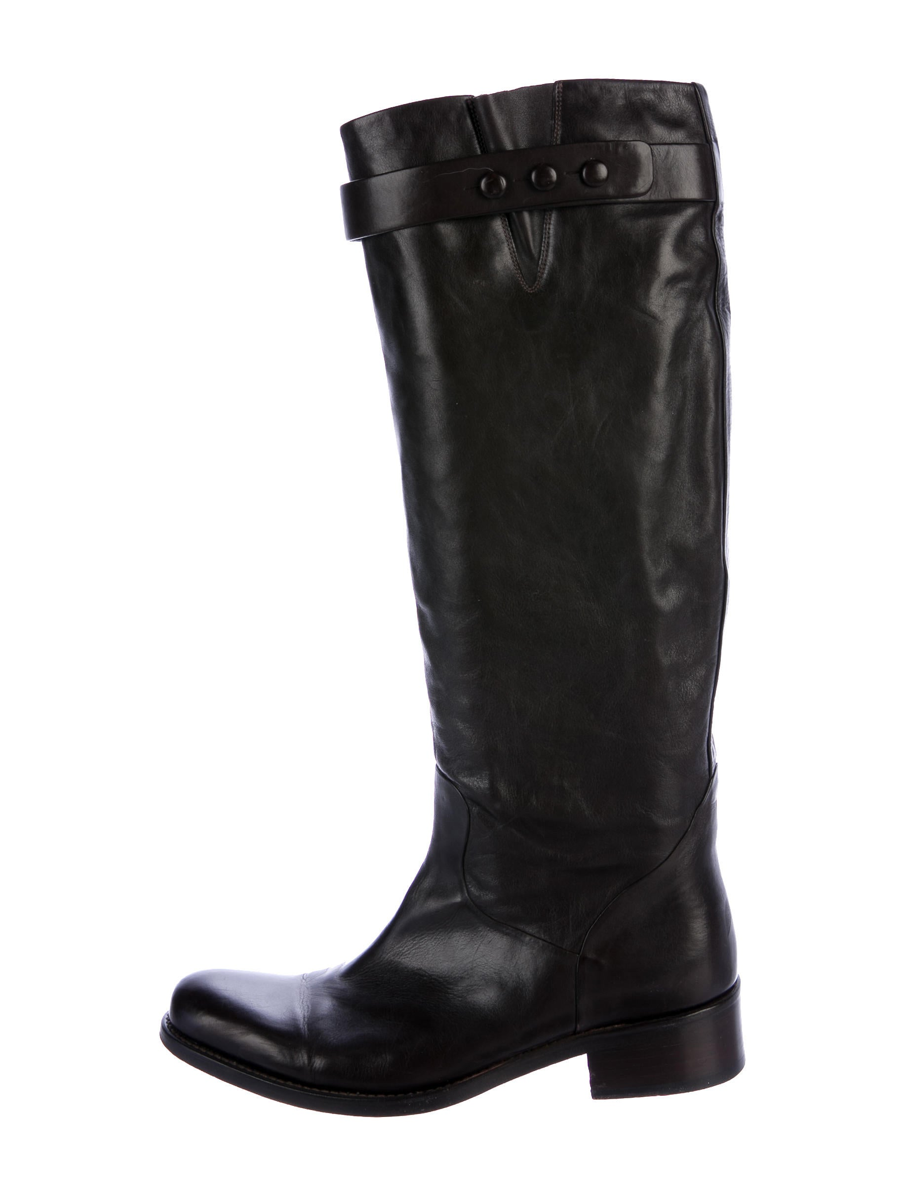 classic cheap price Freelance Leather Round-Toe Knee Boots free shipping wiki mqJvKcbO