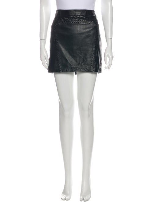 French Connection Leather Mini Skirt Black