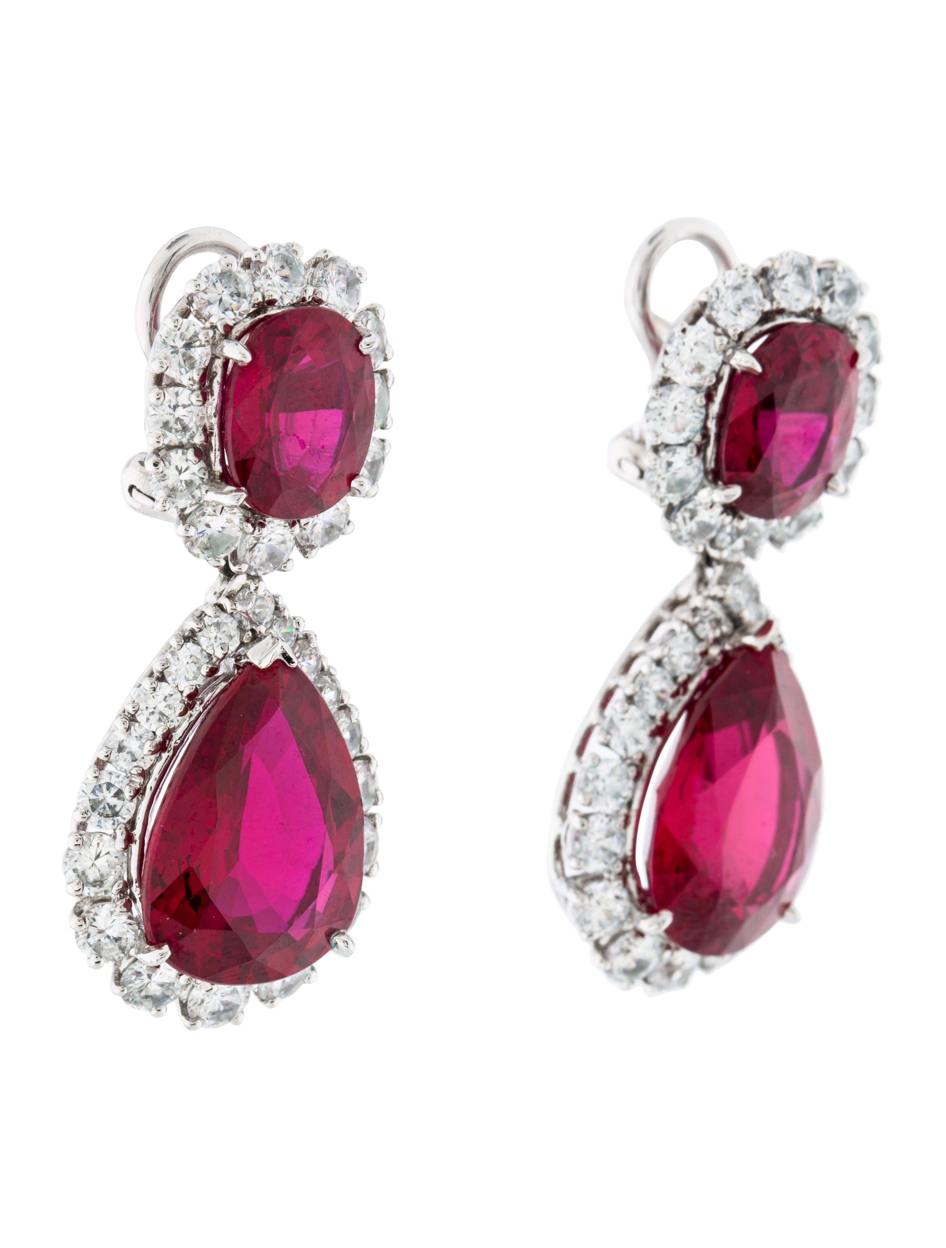 Fantasia By Deserio Synthetic Ruby Earrings Earrings