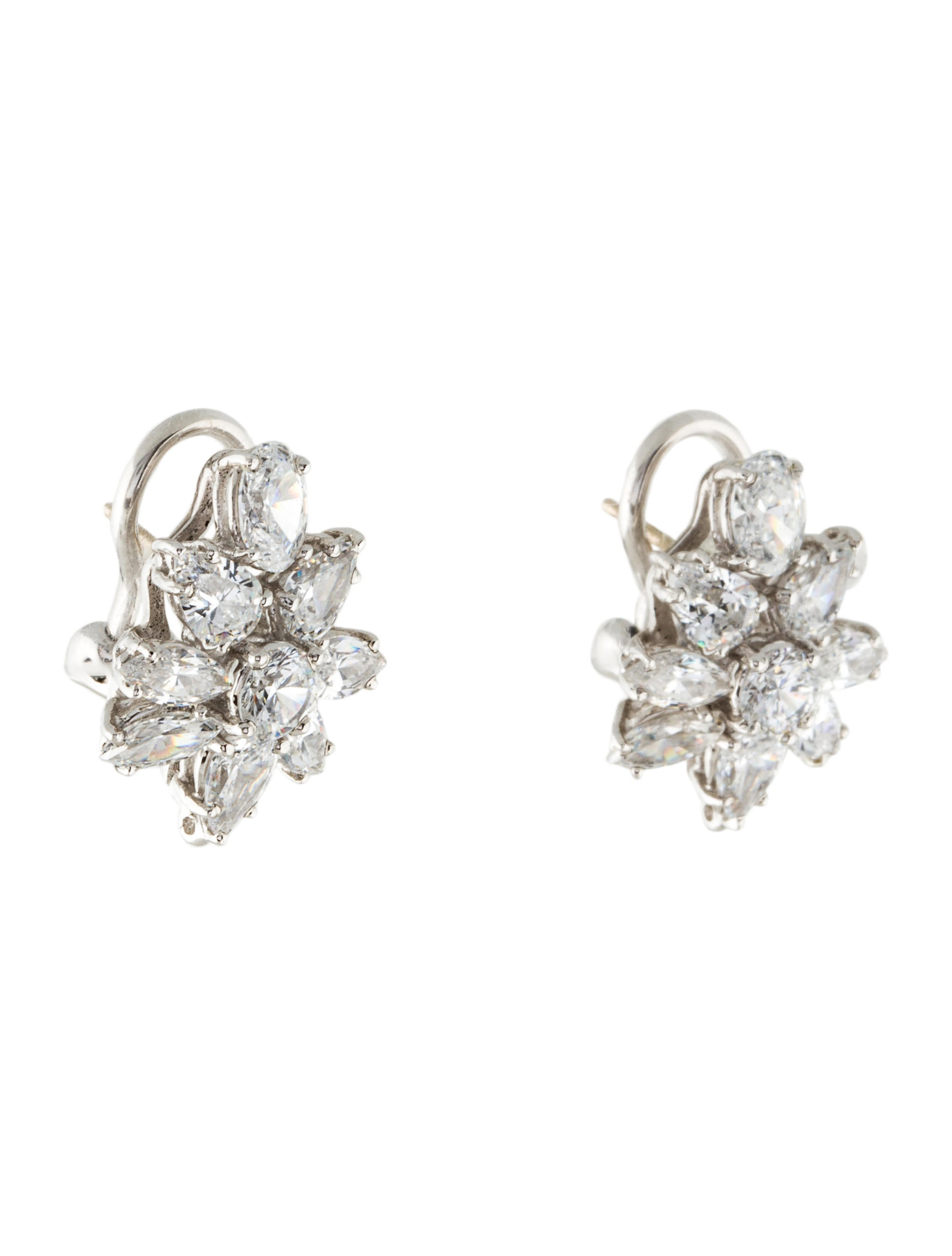 fantasia by deserio cubic zirconia flower motif earrings