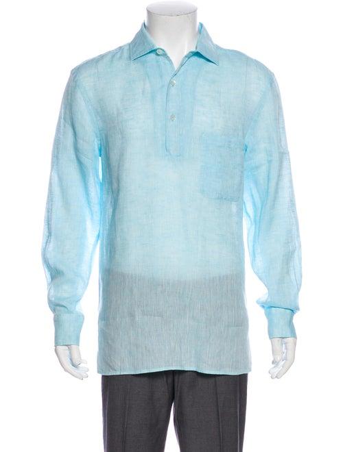 Frescobol Carioca Linen Crew Neck Polo Shirt Blue