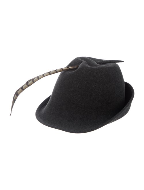 Frank Olive Wool Feather Hat wool