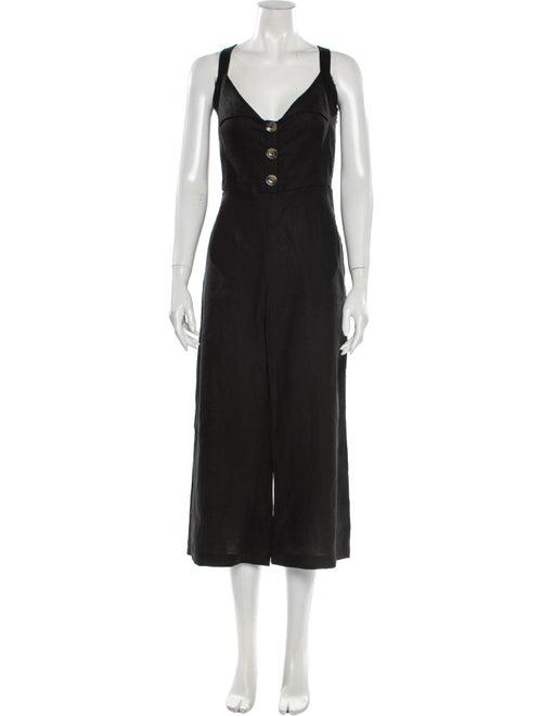 Faithfull The Brand Linen V-Neck Jumpsuit Black