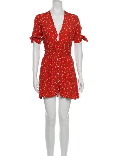 Faithfull The Brand Floral Print Mini Dress Red