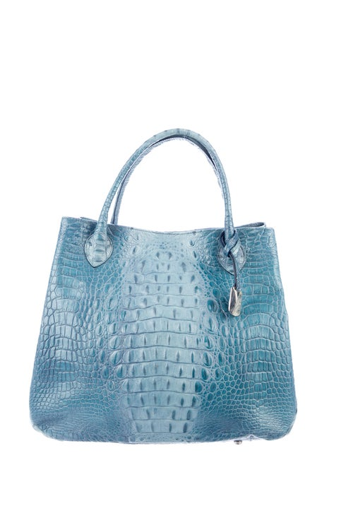 Furla Embossed Leather Tote Blue