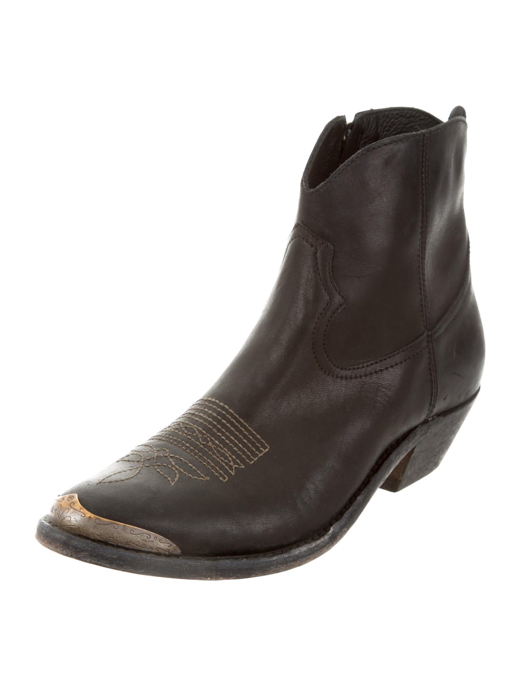 golden goose leather cowboy ankle boots shoes wg522469