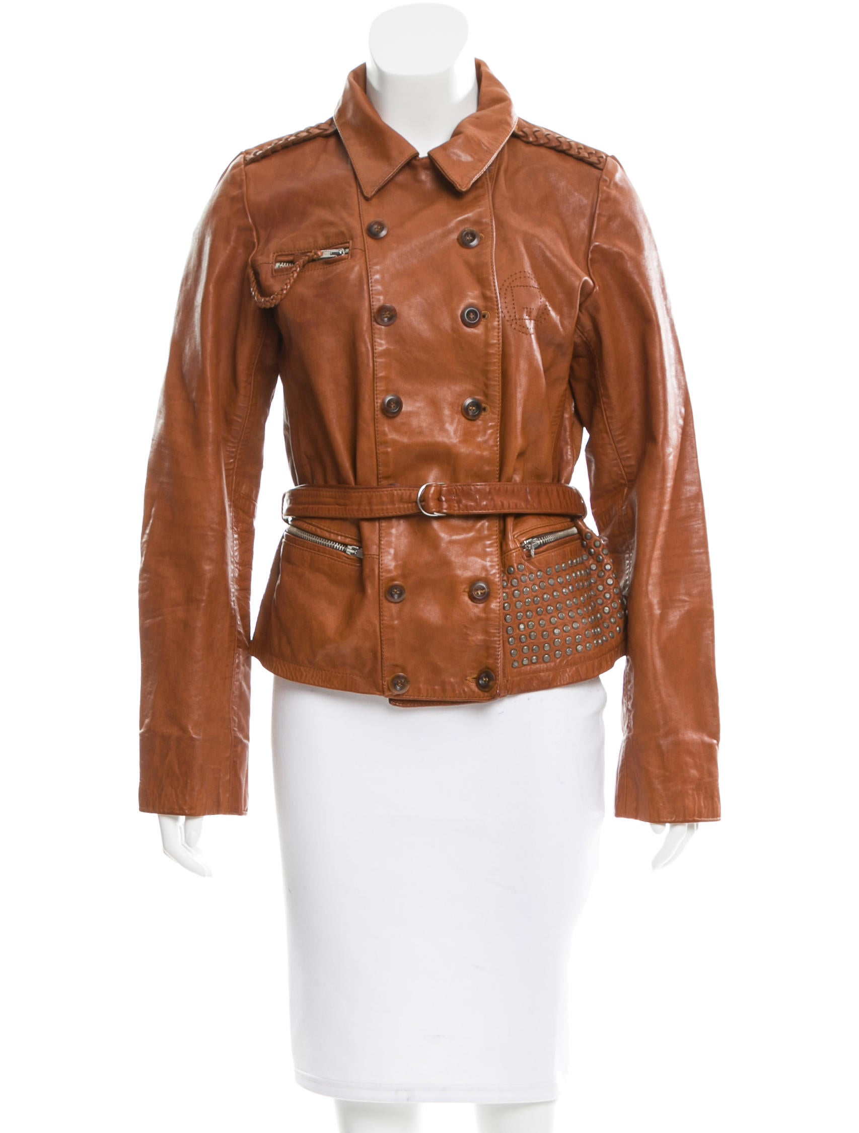 Golden goose studded leather jacket clothing wg522558 for Leather jacket and shirt