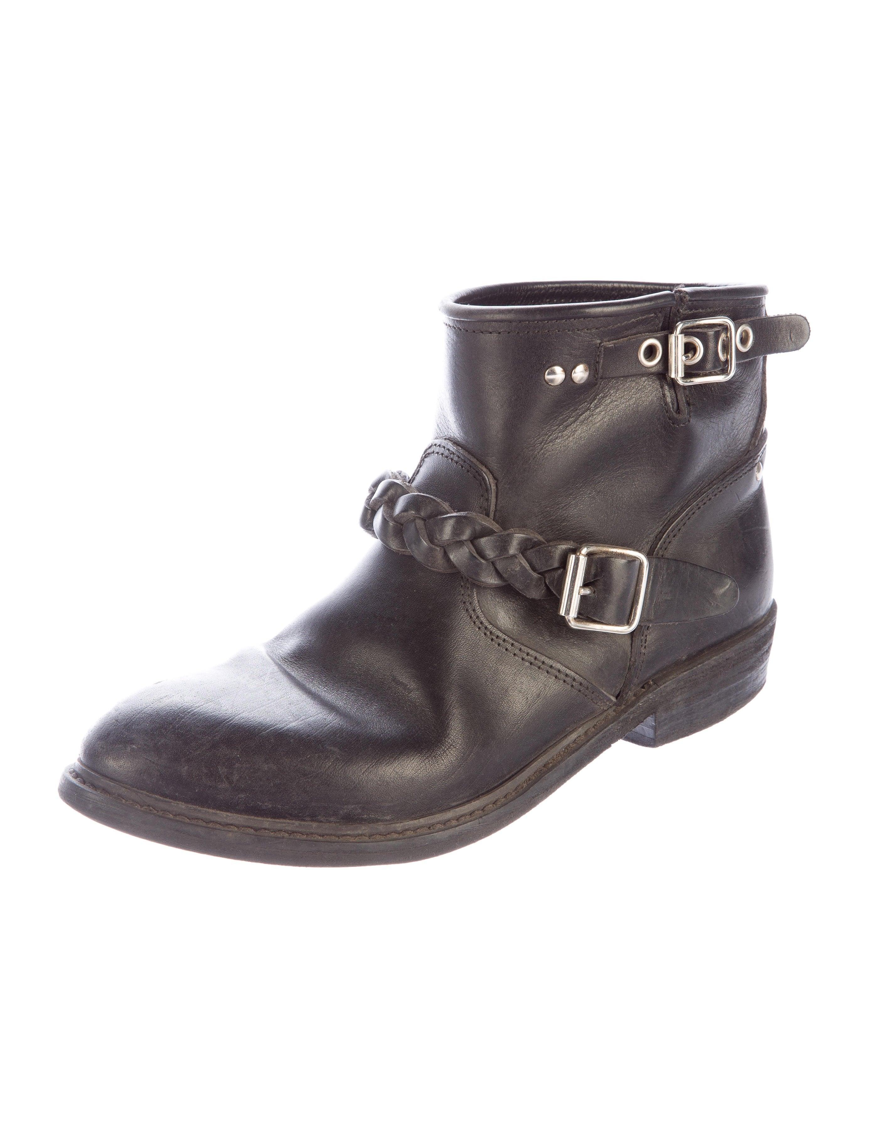 golden goose leather biker ankle boots shoes wg523262 the realreal. Black Bedroom Furniture Sets. Home Design Ideas