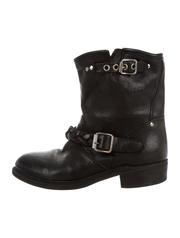 golden goose leather biker boots shoes wg523331 the realreal. Black Bedroom Furniture Sets. Home Design Ideas