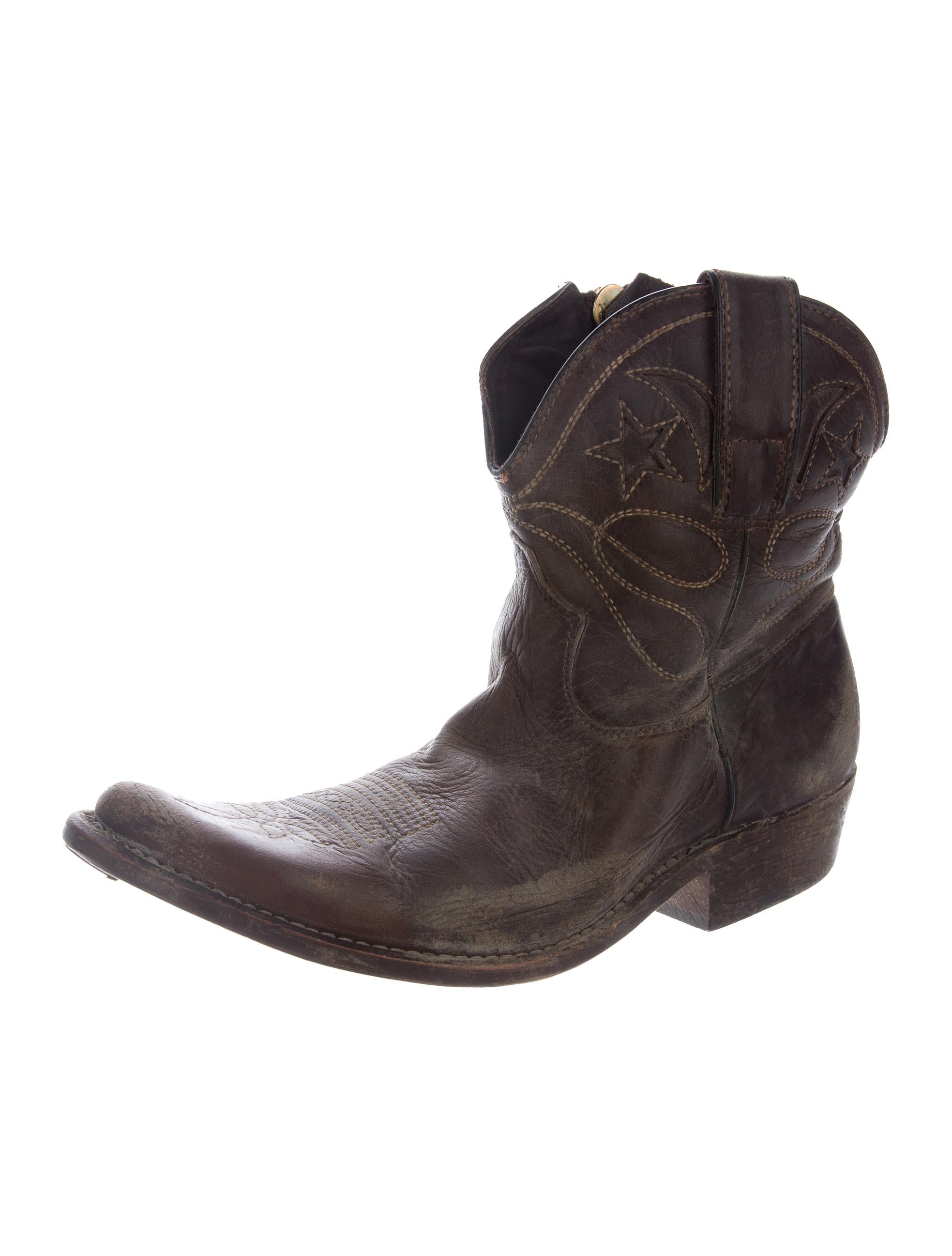 golden goose leather cowboy ankle boots shoes wg524110