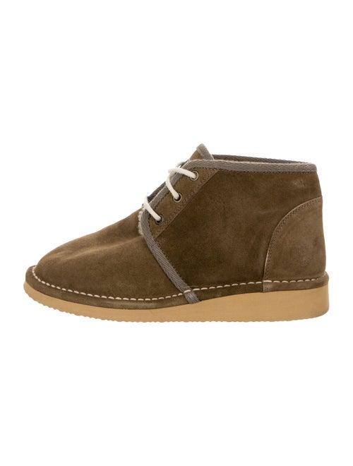 Golden Goose Suede Flat Boots Olive
