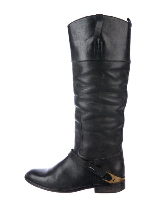 Golden Goose Leather Riding Boots Black