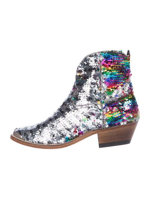Golden Goose Printed Western Boots Silver