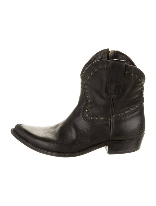 Golden Goose Leather Western Boots Black