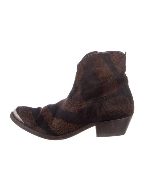 Golden Goose Ponyhair Western Boots Brown