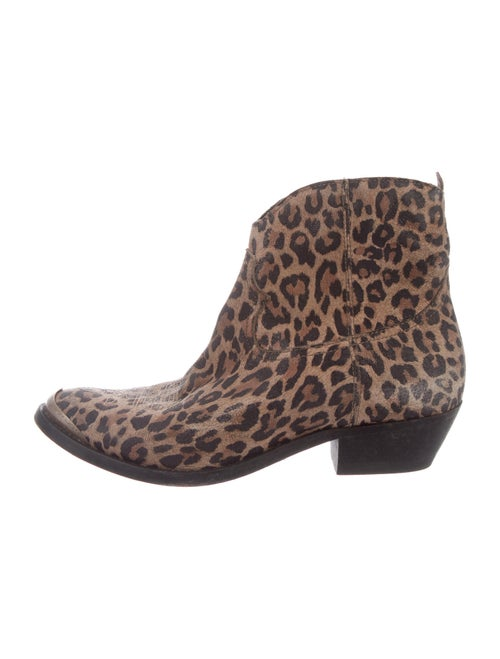 Golden Goose Leather Animal Print Western Boots Br