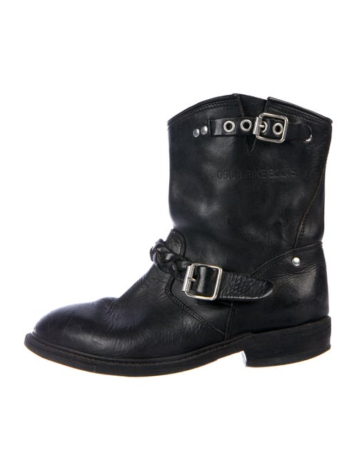 Golden Goose Leather Moto Boots Black