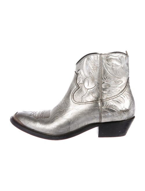 Golden Goose Leather Western Boots Silver