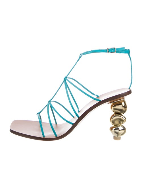 Cult Gaia Leather Sandals Blue