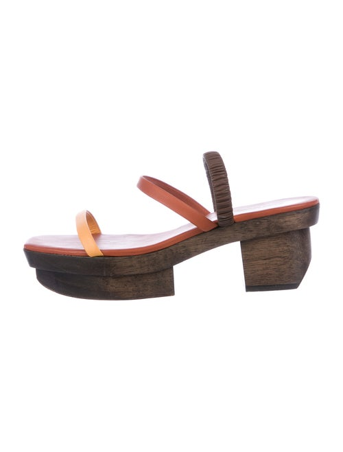 Cult Gaia Leather Slingback Sandals Brown