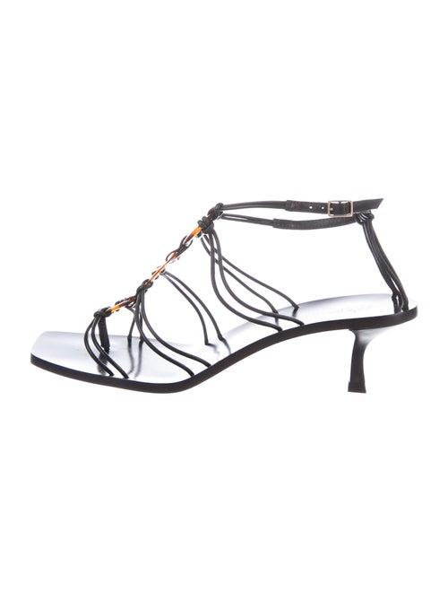 Cult Gaia Leather T-Strap Sandals Black