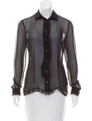 Galliano Lace-Trimmed Silk Top None