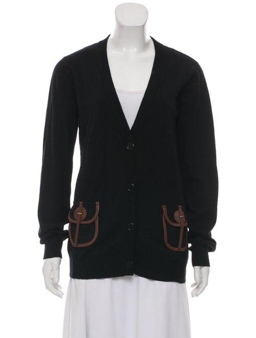Galliano Leather-Trim Wool Cardigan Black