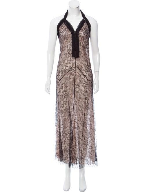 Galliano Sleeveless Lace Dress Black