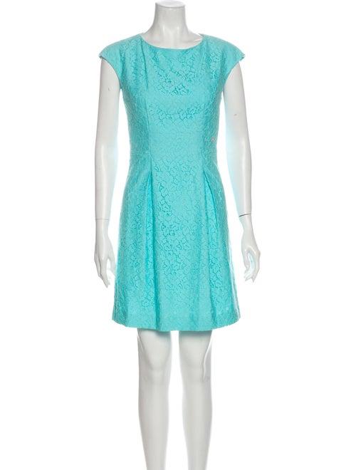 Galliano Lace Pattern Mini Dress Blue